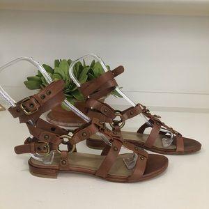 Stuart Weitzman -Narrow-Cognac Gladiator Sandals